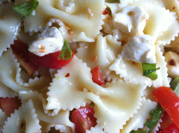 Caprese Pasta Salad close up
