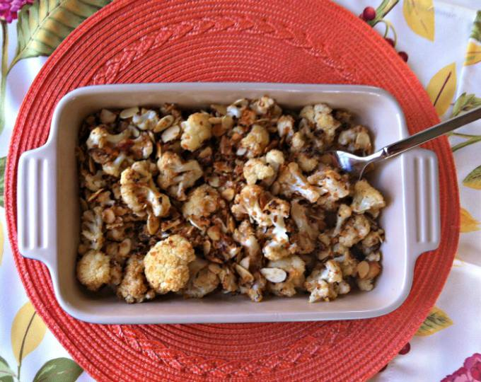 delicious Roasted Cauliflower with Almond Panko Topping