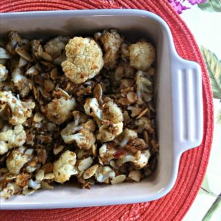 Roasted Cauliflower with Almond Panko Topping from A Cedar Spoon
