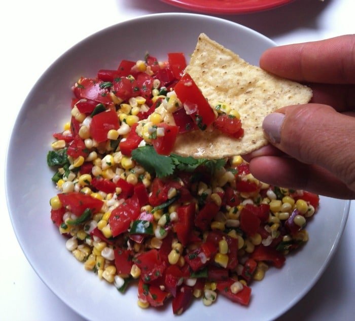 chip full of Grilled Corn SalsaGrilled Corn Salsa