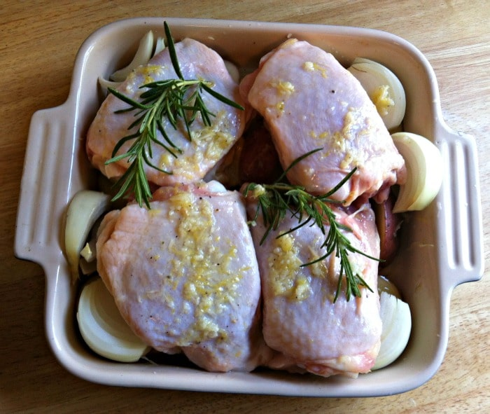 Roasted Lemon Rosemary Chicken and Red Potatoes ready to bake