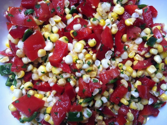 close up of Grilled Corn Salsa