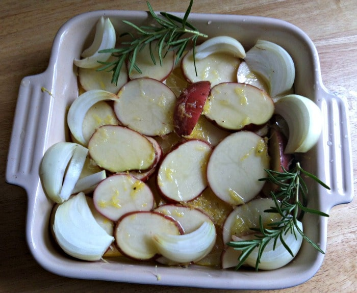 Roasted Lemon Rosemary Chicken and Red Potatoes  preperation