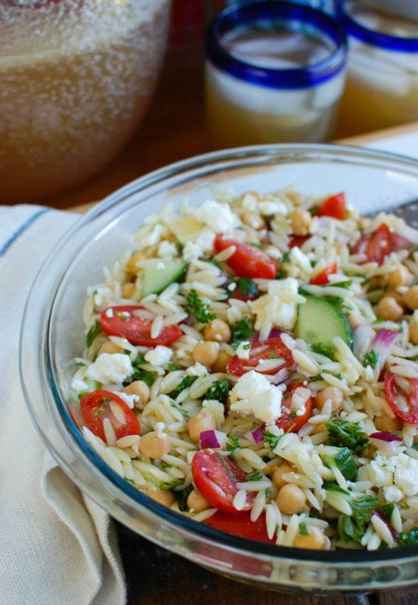 Summer Orzo Pasta Salad with spoon