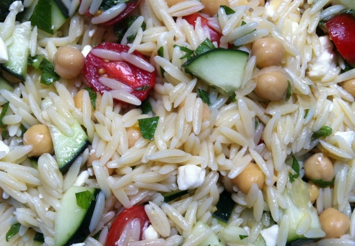 close up of Summer Orzo Pasta Salad