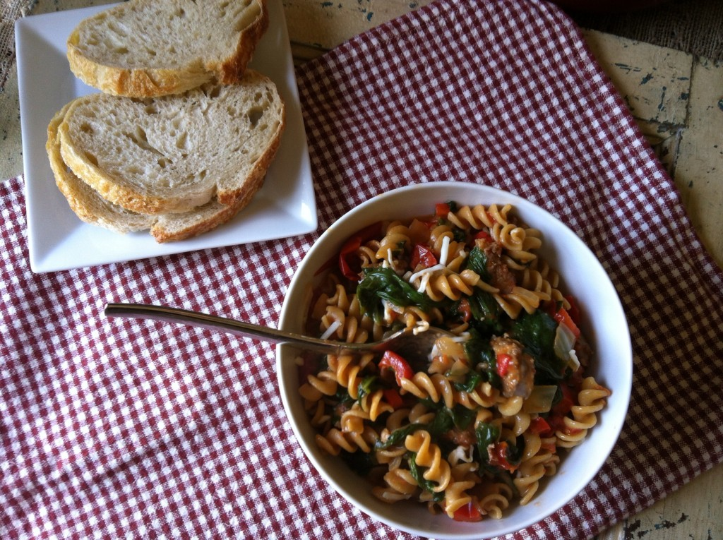 Skillet Sausage and Spinach Pasta meal