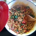 Skillet Sausage and Spinach Pasta recipe from A Cedar Spoon