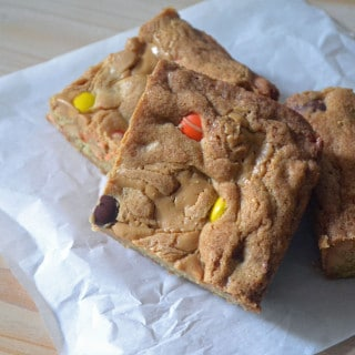 Triple Peanut Butter Swirl Blondies recipe