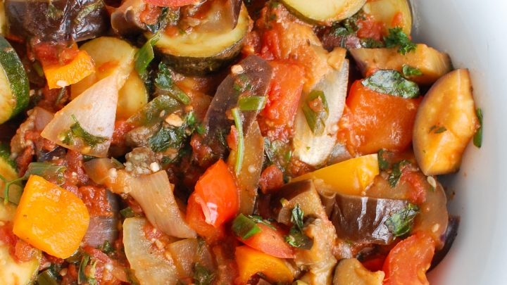 Ratatouille Recipe in white bowl