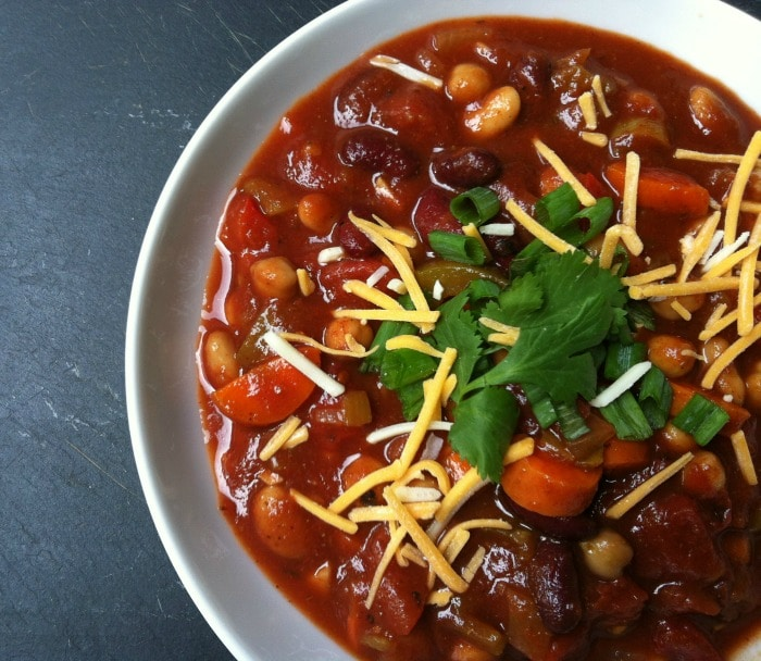 delicious vegetarian Three Bean Fire Roasted Chili