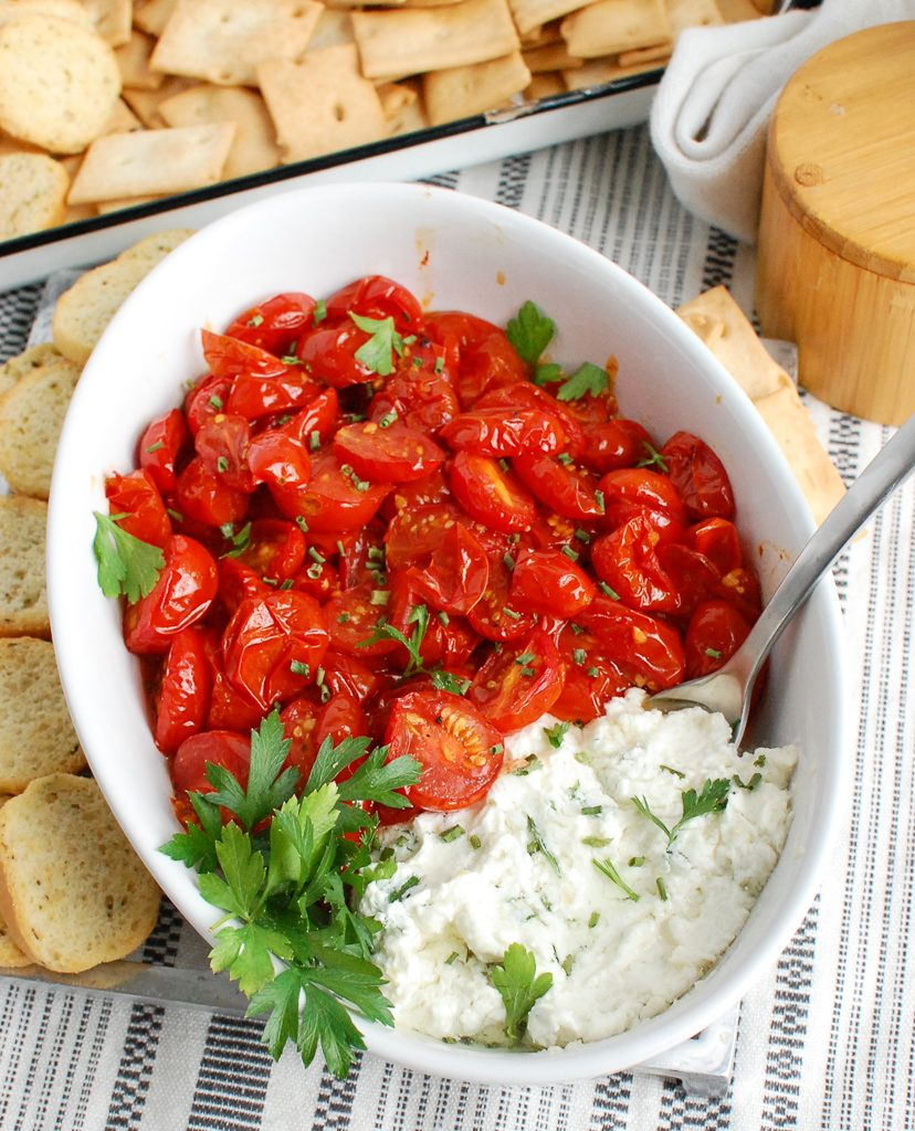 Goat Cheese Dip with spoon