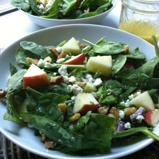 Spinach Salad with Apples, Walnuts and Goat Cheese recipe from A Cedar Spoon
