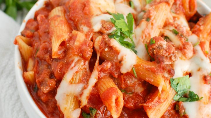 Baked Ziti with Ricotta in white bowl