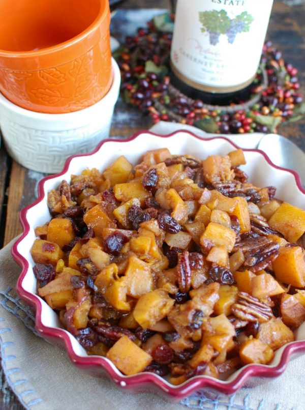 Butternut Squash Apple Bake with spoon