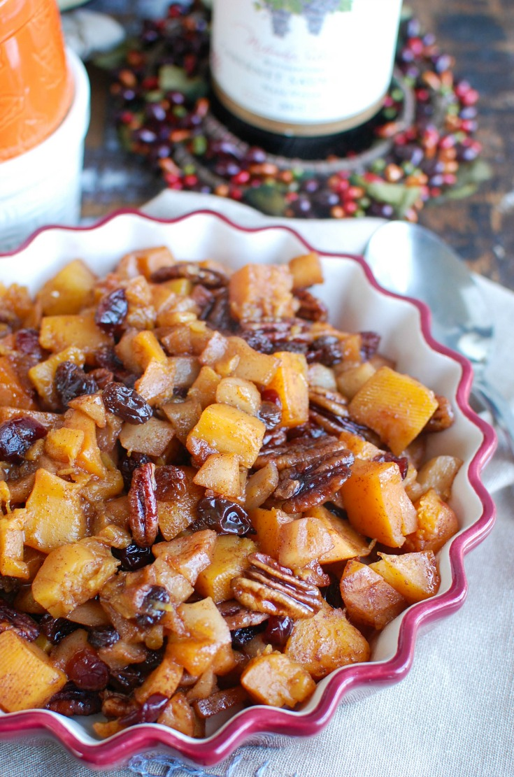 Butternut Squash Apple Bake is a the perfect side dish for your holiday table. It is sweet, warm and full of fallflavors Thebutternut squash, apple, raising and pecans pair perfectly together.