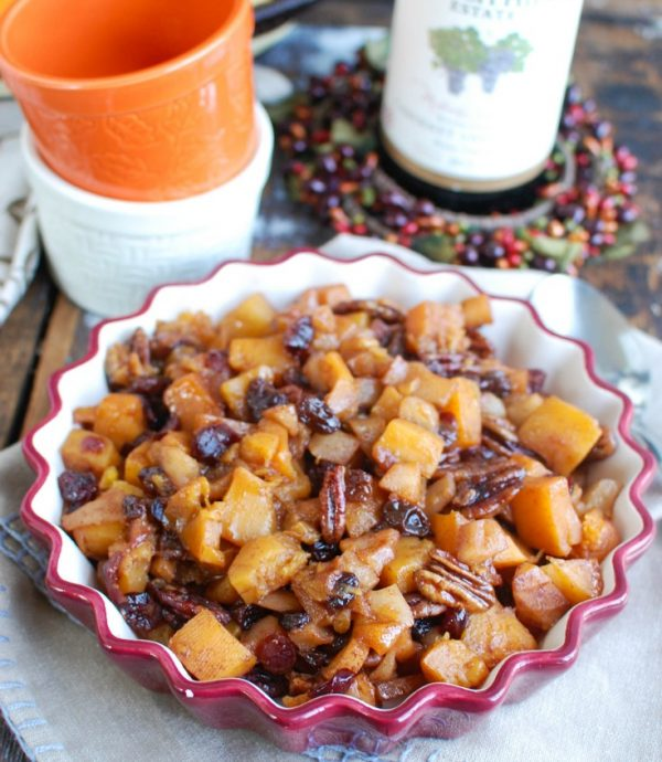 Butternut Squash Apple Bake with wine
