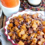 Butternut Squash Apple Bake is a the perfect side dish for your holiday table. It is sweet, warm and full of fall flavors  The butternut squash, apple, raising and pecans pair perfectly together.