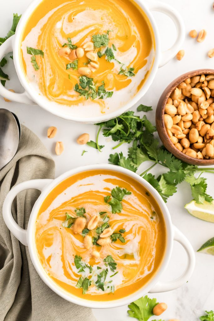 Curried Butternut Squash Soup with peanuts