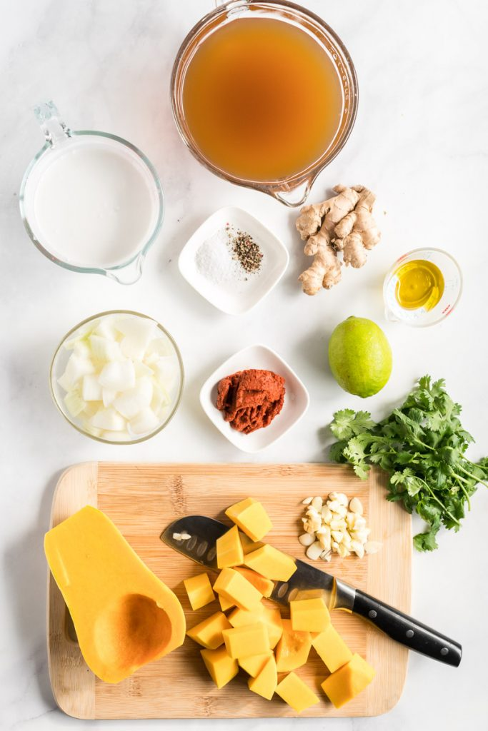 Instant Pot Butternut Squash Soup ingredients