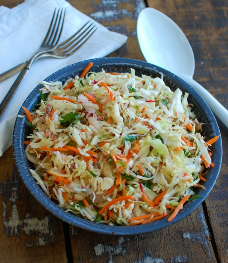 Healthy Coleslaw in a blue bowl