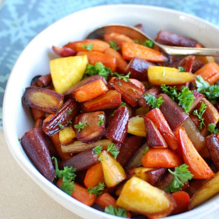 Balsamic Carrots in White Bowl