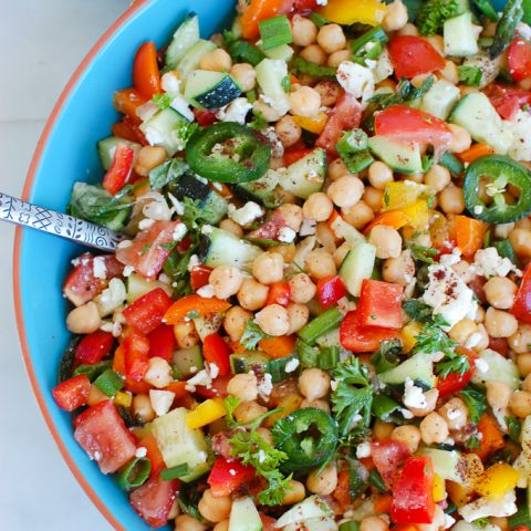 Chickpea Salad Teal Bowl