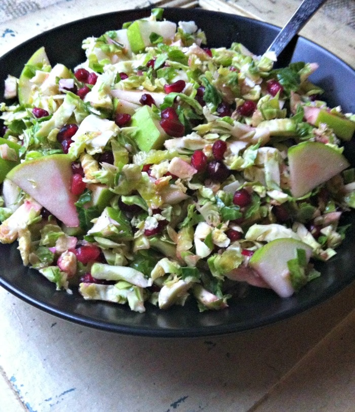 delicious Shaved Brussels Sprout Salad With Apple and Pomegranate