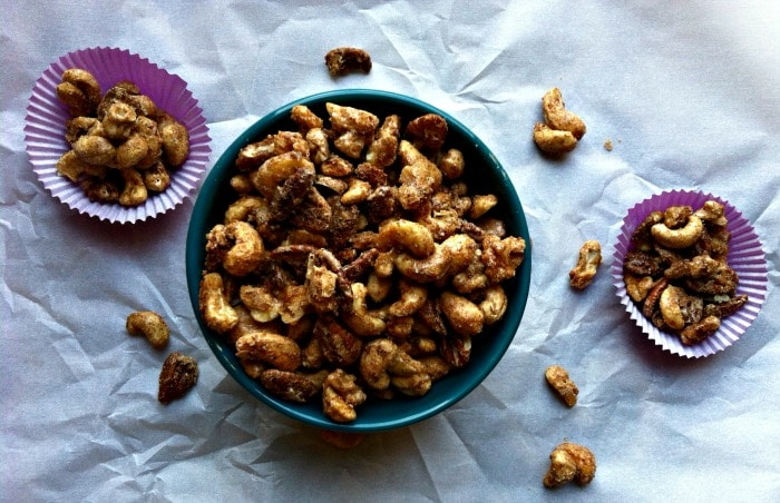 sweet and spicy nut mix of cashews, pecans and walnuts mixed with ...