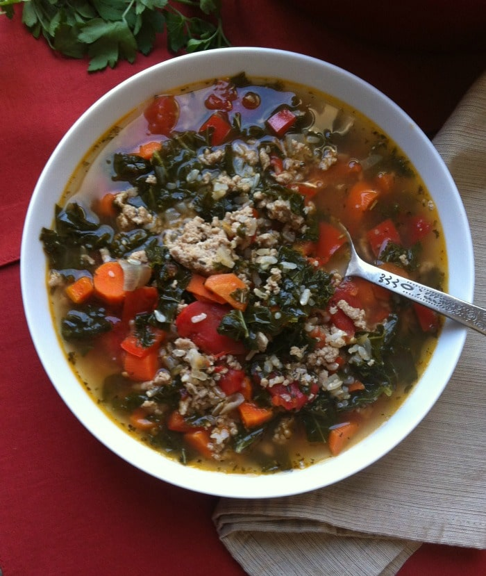 Brown Rice And Greens Soup With Turkey Sausage Recipe ...
