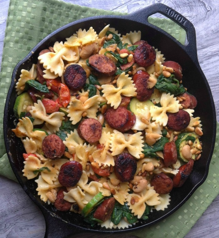 Smoked Sausage, White Bean and Spinach Pasta with Toasted Pine Nuts