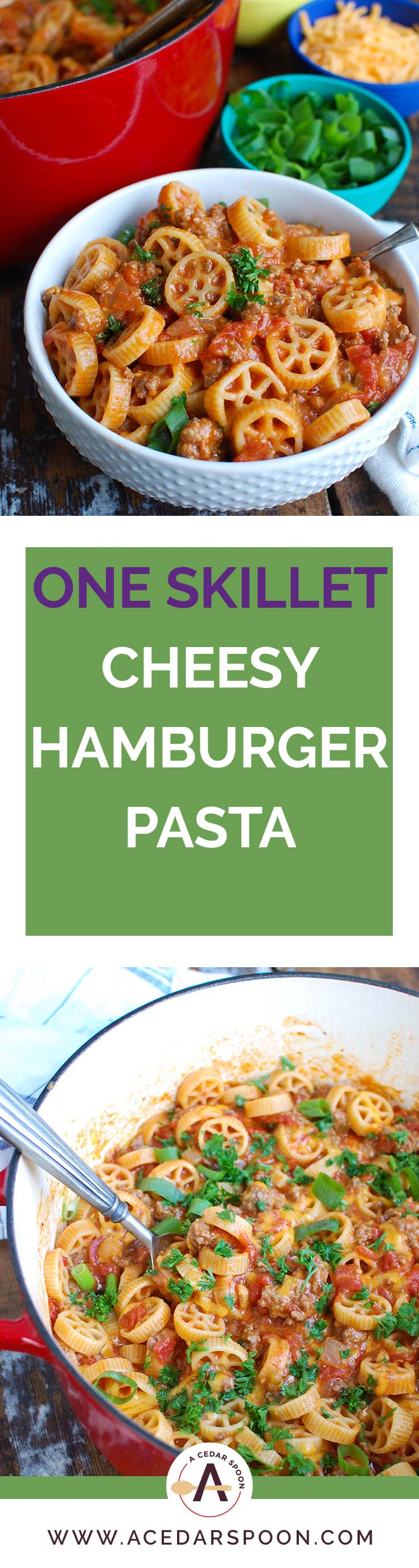One Skillet Cheesy Hamburger Pasta is a quick and easy one skillet or pot meal mixing ground beef, tomatoes, cheese and pasta to create a cheesy hamburger dish.  The leftovers reheat wonderfully so you have options for lunch and dinner later in the week!