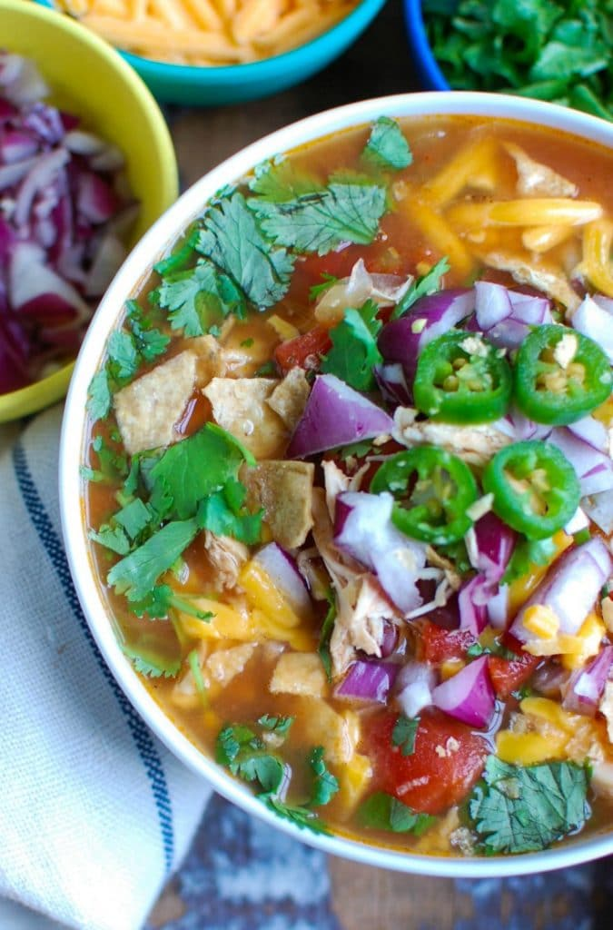 Slow Cooker Chicken Tortilla Soup with cilantro