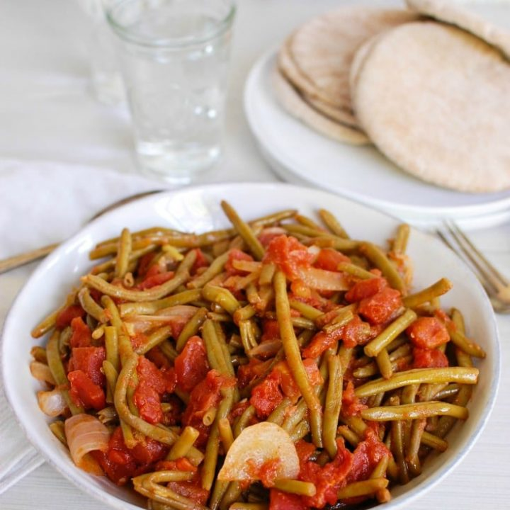 Lebanese Green Beans with tomatoes.