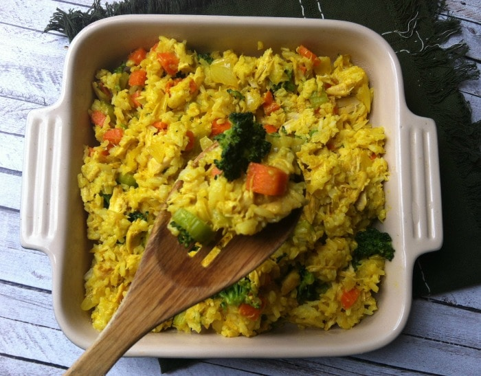 Curried Chicken and Rice Casserole with carrots