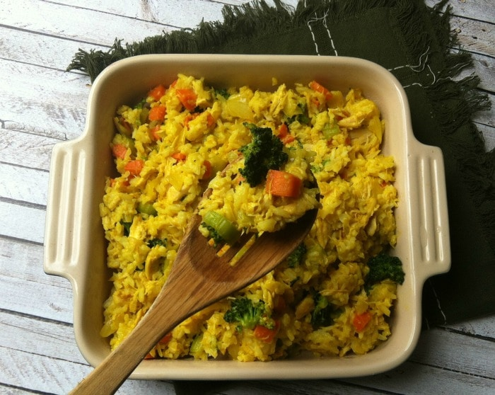 Curried Chicken and Rice Casserole with spoon