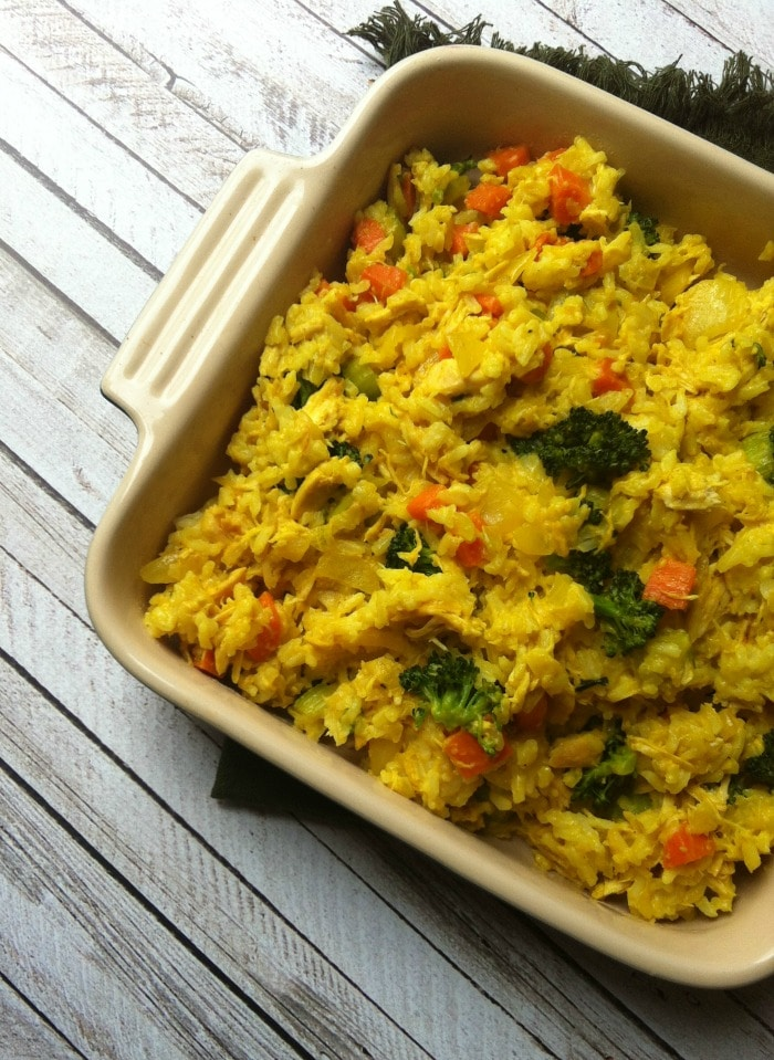 Curried Chicken and Rice Casserole in dish