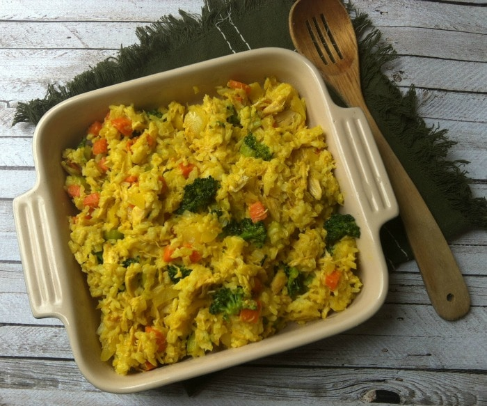 Curried Chicken and Rice Casserole with napkin