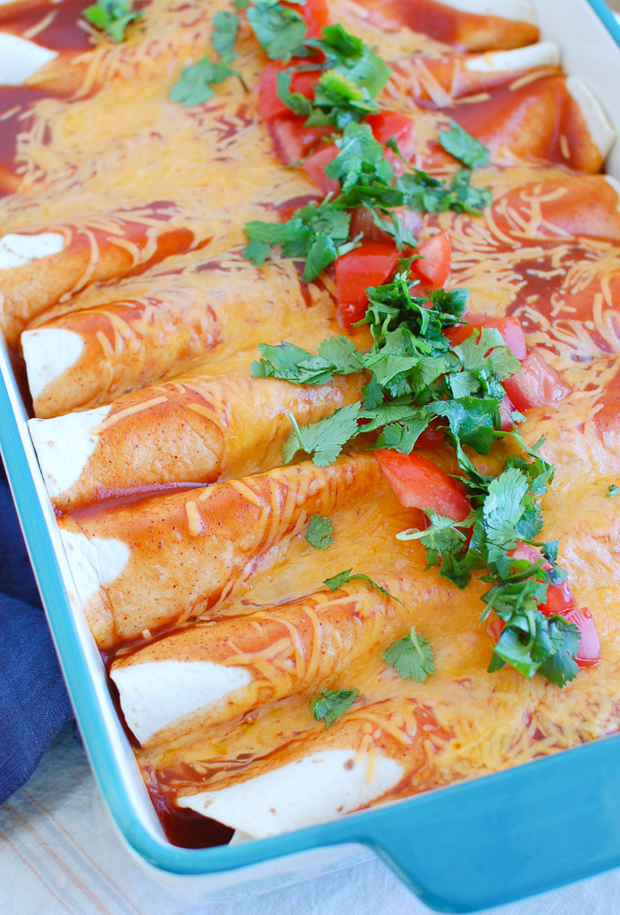 Chicken Enchiladas in a blue dish