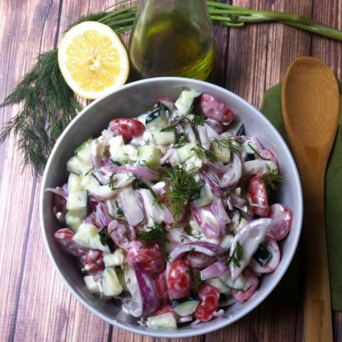 Cucumber Tomato Salad with Dill Yogurt Dressing