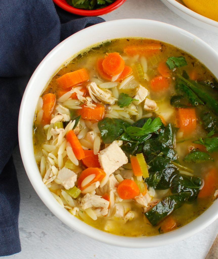 Lemon Chicken Orzo Soup with parsley