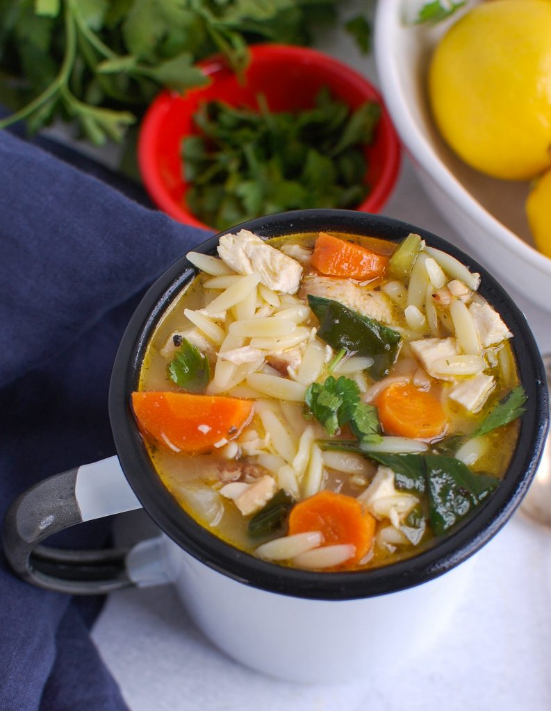 Lemon Chicken Orzo Soup in cup