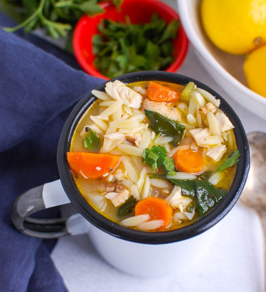 Lemon Chicken Orzo Soup in White Cup