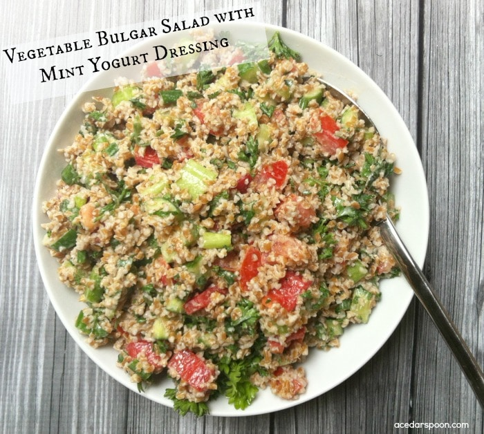 Vegetable Bulgar Salad with Mint Yogurt Dressing
