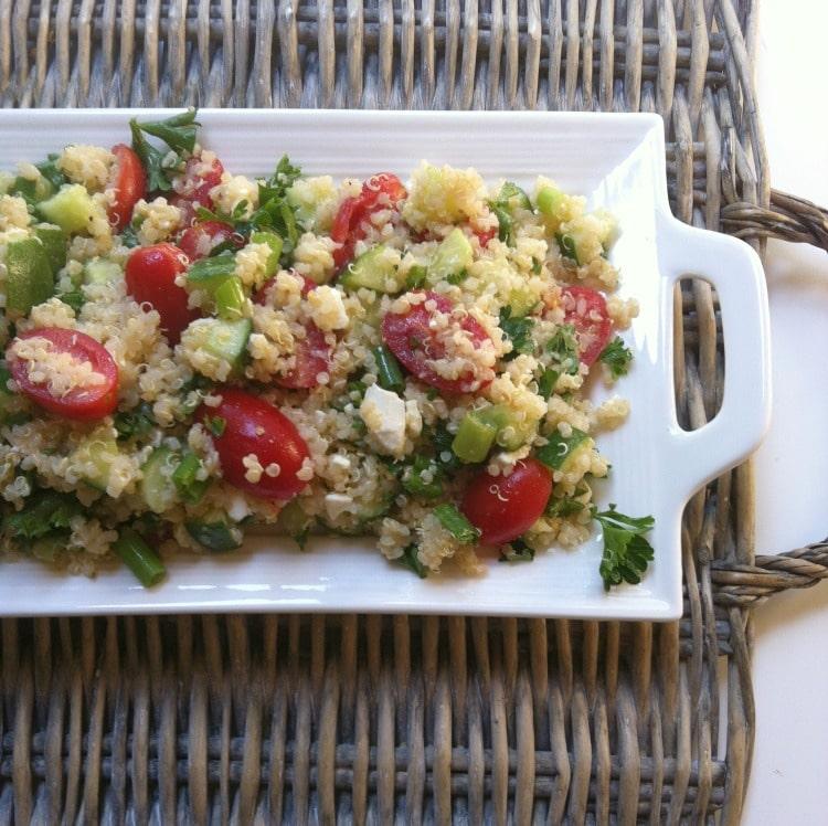 Tomato Cucumber Feta Quinoa Salad - A Cedar Spoon