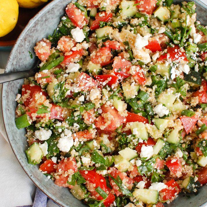 Tomato Cucumber Feta Quinoa Salad in large bowl