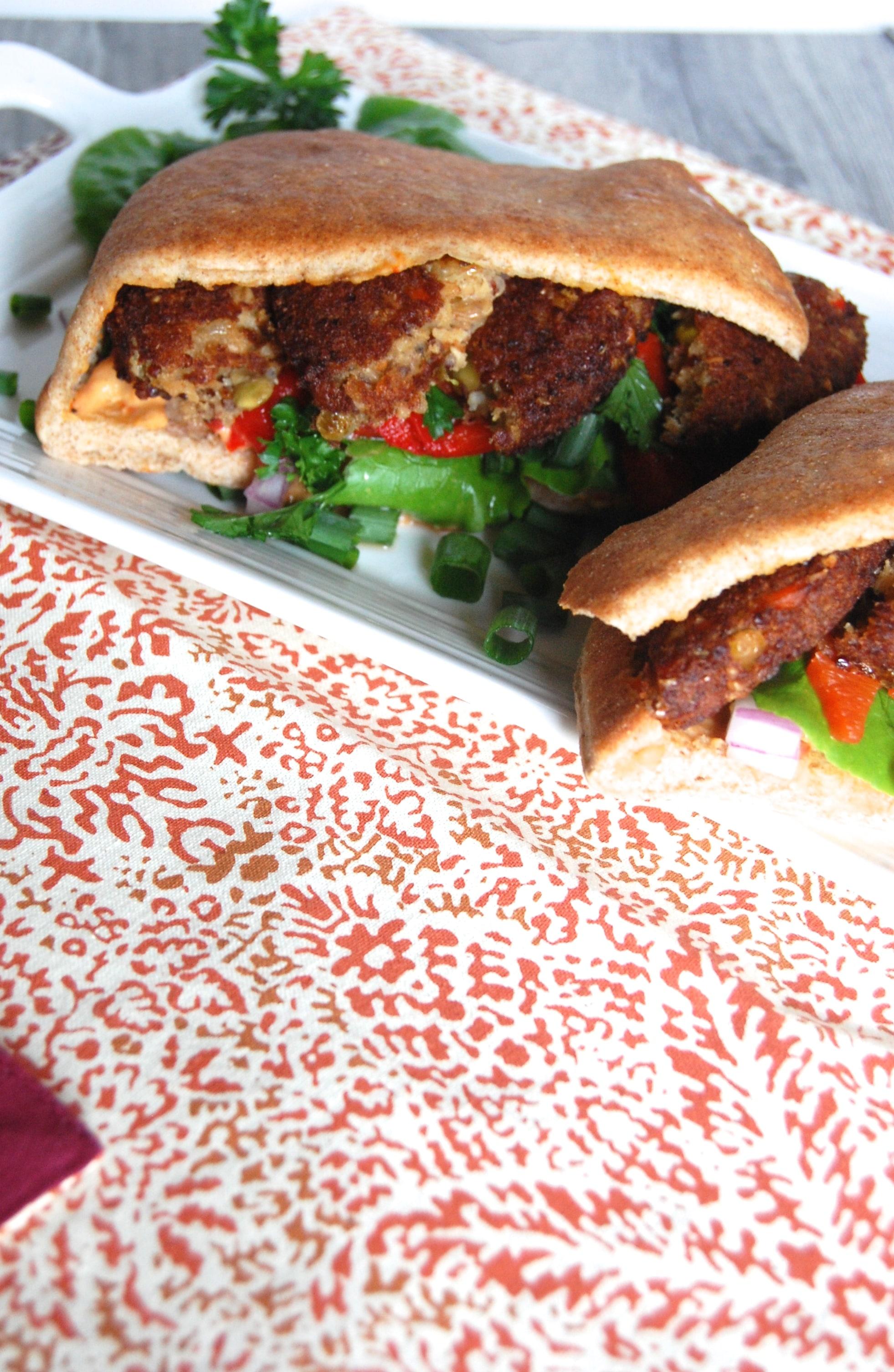 Mediterranean Roasted Garlic and Quinoa Pita Sandwich