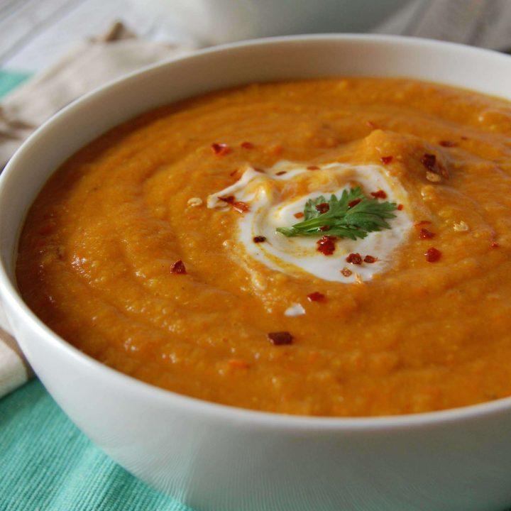 Instant Pot Lentil Soup White Bowl