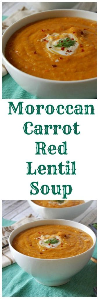 Moroccan Carrot Red Lentil Soup - an easy comfort food soup. Meatless, vegetarian, and healthy