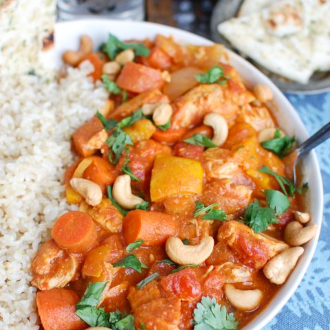 Slow Cooker Coconut Curry Chicken with Cashews