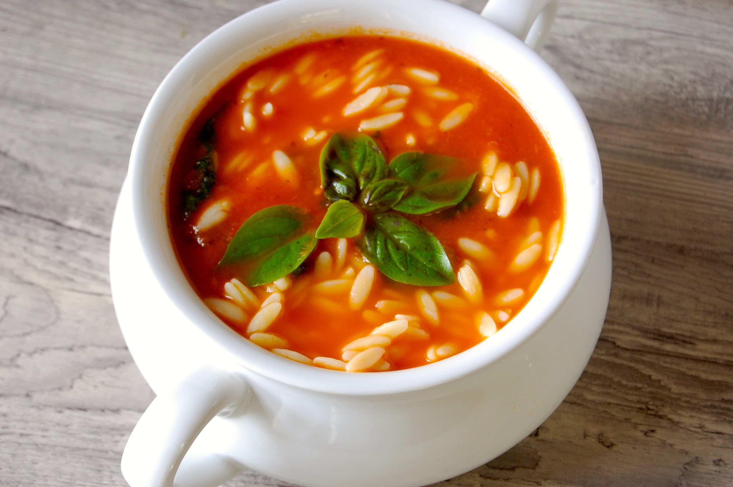 Tomato Spinach Orzo Soup - A Cedar Spoon